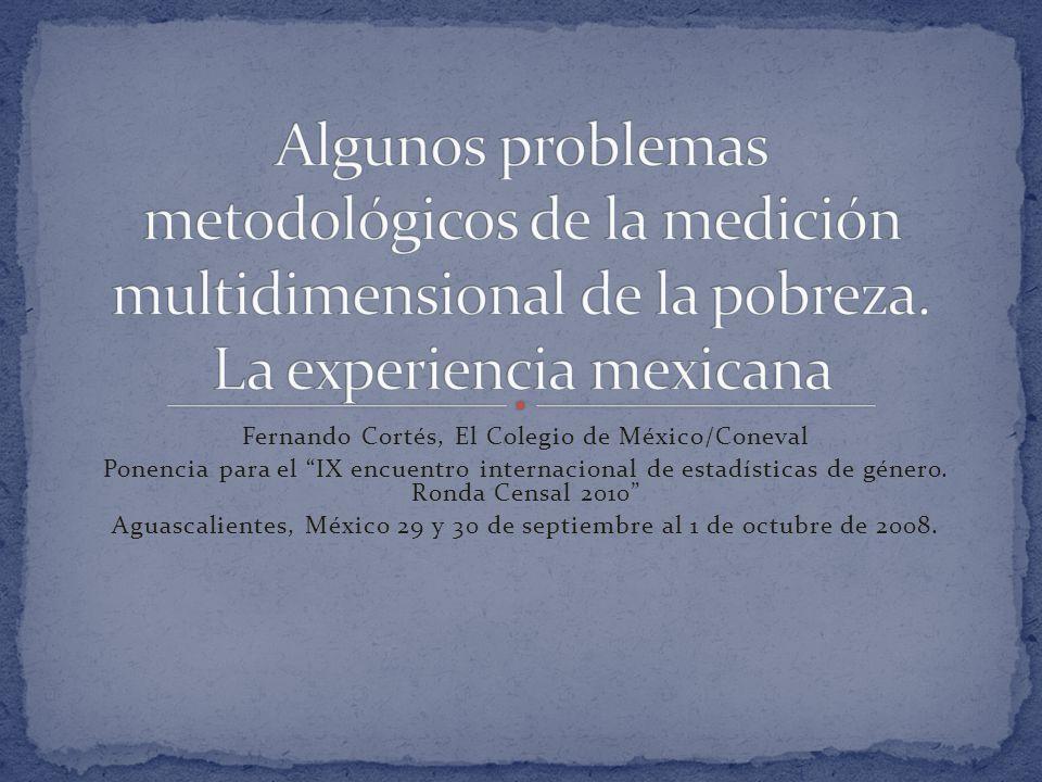 Fernando Cortés, El Colegio de México/Coneval Ponencia para el IX encuentro internacional de estadísticas de género.
