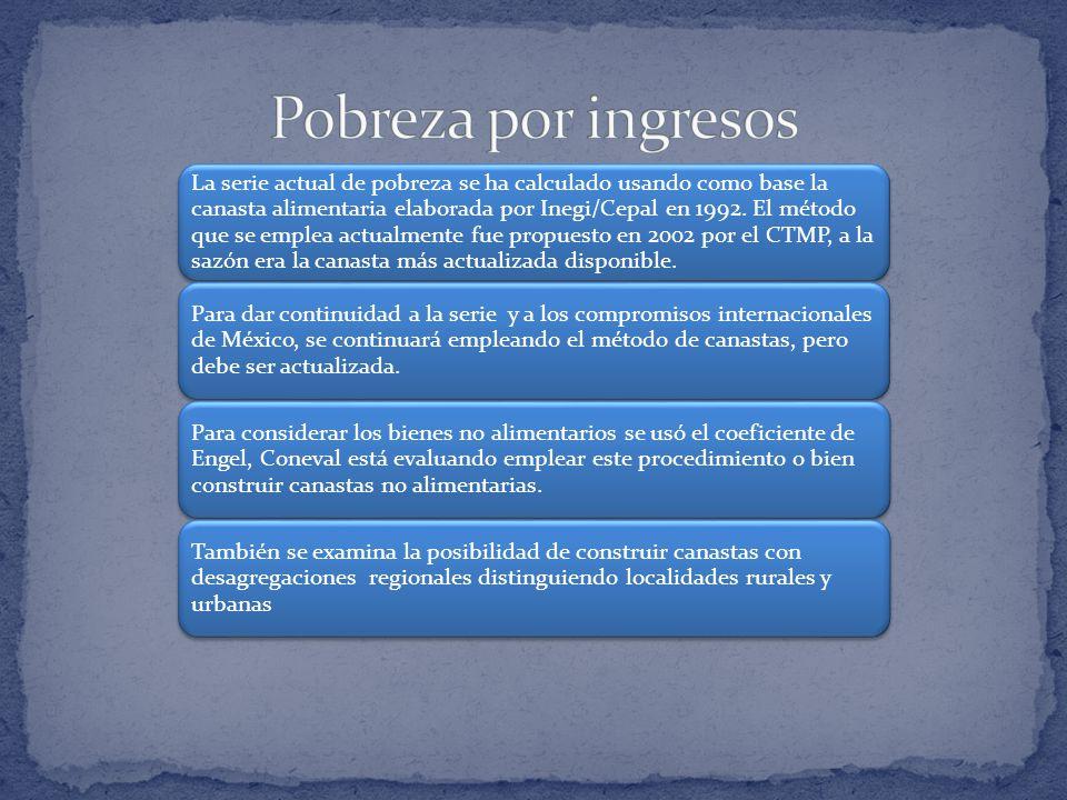 La serie actual de pobreza se ha calculado usando como base la canasta alimentaria elaborada por Inegi/Cepal en 1992.