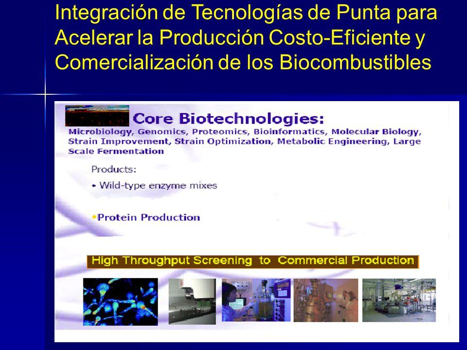 Integracion de Tecnologias Avanzadas Para Acelerar La Prod. Costo-Effectiva de Biocombustibles Celulosicos ó Integración de Tecnologías de Punta para