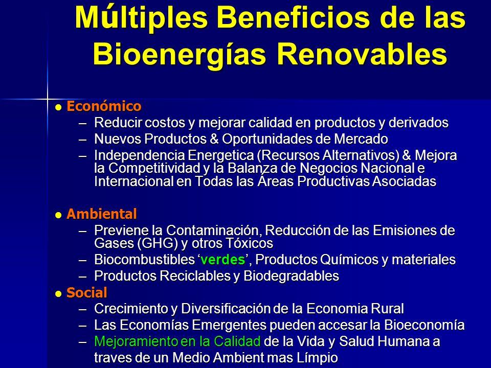 M ú ltiples Beneficios de las Bioenerg í as Renovables Económico Económico –Reducir costos y mejorar calidad en productos y derivados –Nuevos Producto