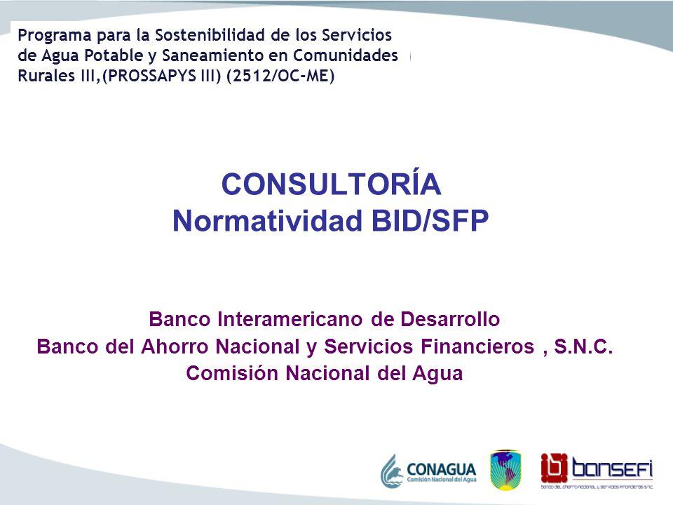 Programa para la Sostenibilidad de los Servicios de Agua Potable y Saneamiento en Comunidades Rurales III,(PROSSAPYS III) (2512/OC-ME) CONSULTORÍA Nor