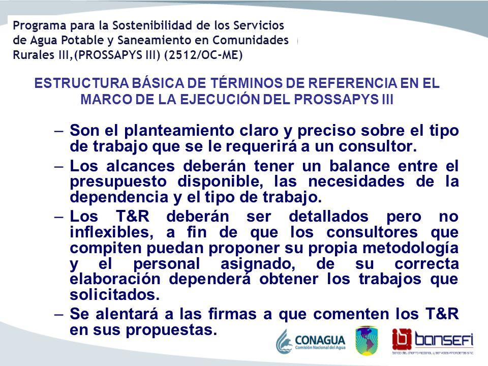 Programa para la Sostenibilidad de los Servicios de Agua Potable y Saneamiento en Comunidades Rurales III,(PROSSAPYS III) (2512/OC-ME) ESTRUCTURA BÁSI