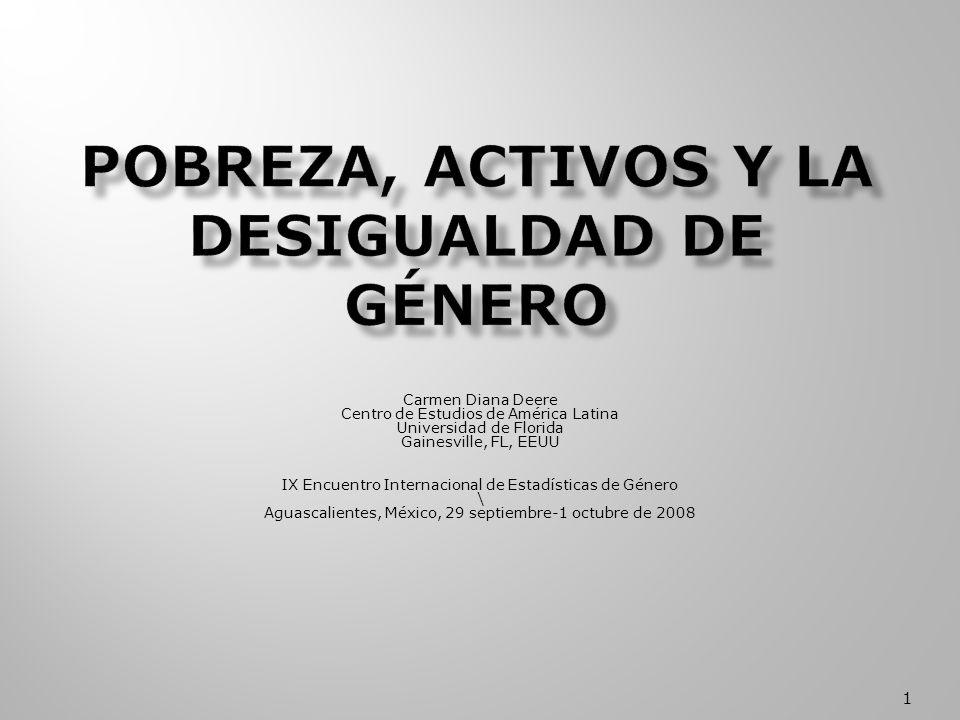 Carmen Diana Deere Centro de Estudios de América Latina Universidad de Florida Gainesville, FL, EEUU IX Encuentro Internacional de Estadísticas de Género \ Aguascalientes, México, 29 septiembre-1 octubre de 2008 1