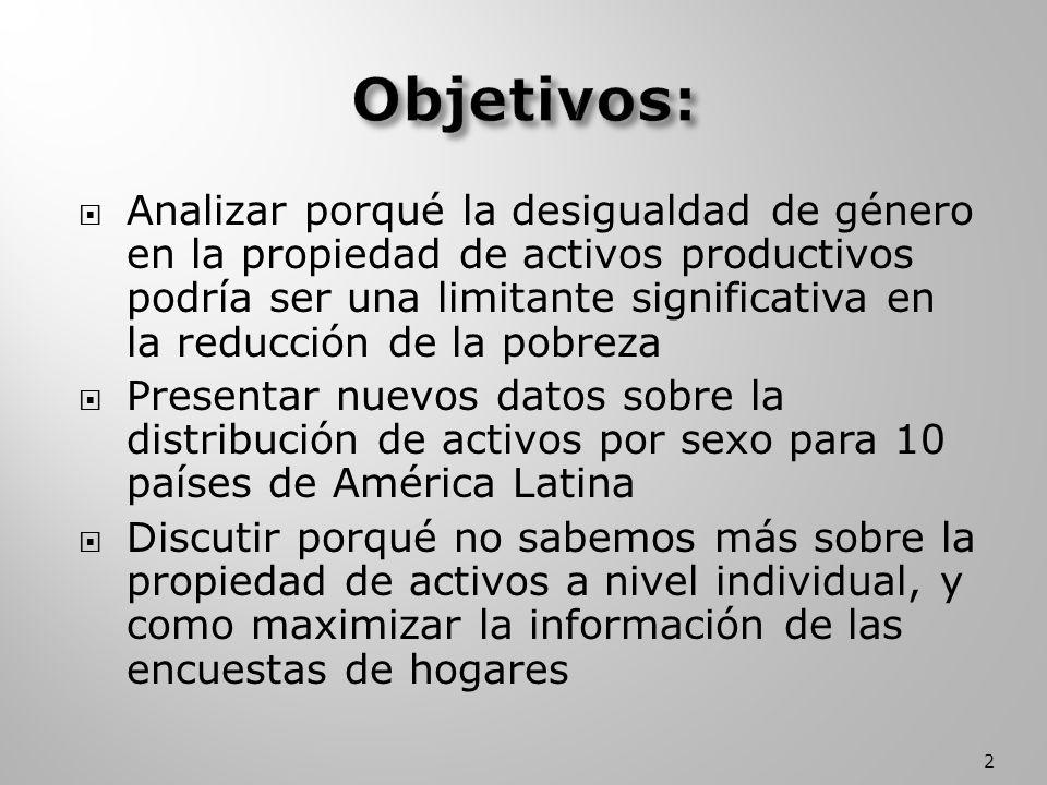 Analizar porqué la desigualdad de género en la propiedad de activos productivos podría ser una limitante significativa en la reducción de la pobreza Presentar nuevos datos sobre la distribución de activos por sexo para 10 países de América Latina Discutir porqué no sabemos más sobre la propiedad de activos a nivel individual, y como maximizar la información de las encuestas de hogares 2