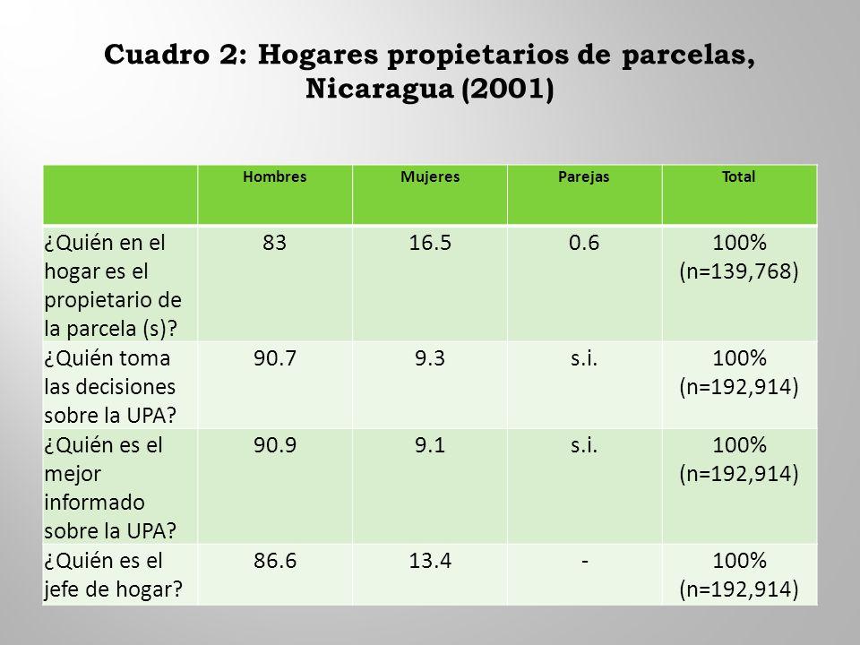Cuadro 2: Hogares propietarios de parcelas, Nicaragua (2001) HombresMujeresParejasTotal ¿Quién en el hogar es el propietario de la parcela (s).