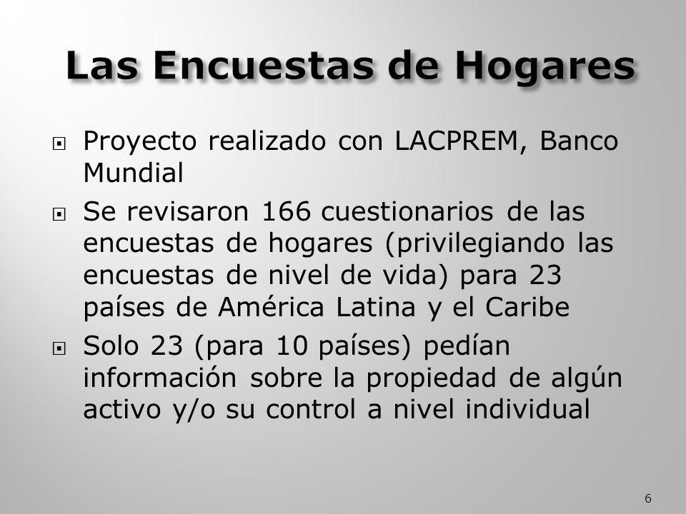 Proyecto realizado con LACPREM, Banco Mundial Se revisaron 166 cuestionarios de las encuestas de hogares (privilegiando las encuestas de nivel de vida) para 23 países de América Latina y el Caribe Solo 23 (para 10 países) pedían información sobre la propiedad de algún activo y/o su control a nivel individual 6