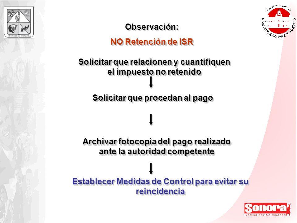 Observación: NO Retención de ISR Observación: NO Retención de ISR Establecer Medidas de Control para evitar su reincidencia Solicitar que relacionen y