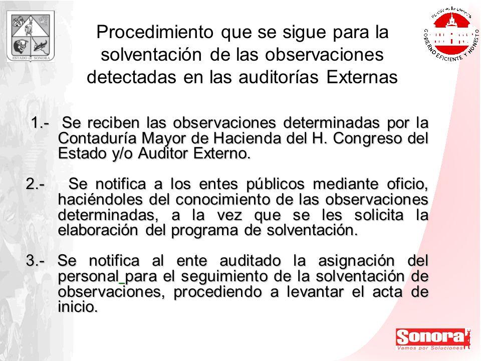Procedimiento que se sigue para la solventación de las observaciones detectadas en las auditorías Externas 1.- Se reciben las observaciones determinad