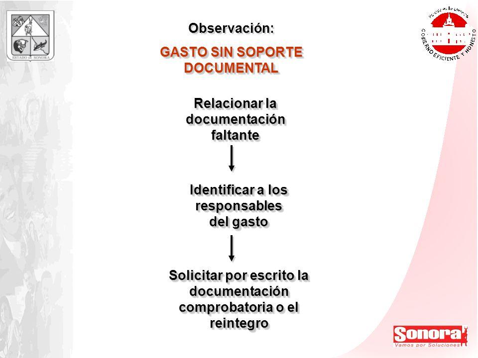 Observación: GASTO SIN SOPORTE DOCUMENTAL Observación: GASTO SIN SOPORTE DOCUMENTAL Relacionar la documentación faltante Identificar a los responsable