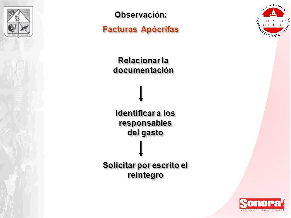 Observación: Facturas Apócrifas Observación: Facturas Apócrifas Relacionar la documentación Identificar a los responsables del gasto Solicitar por esc