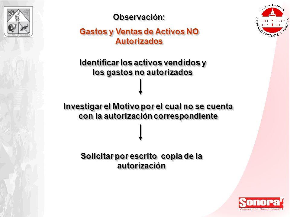 Observación: Gastos y Ventas de Activos NO Autorizados Observación: Gastos y Ventas de Activos NO Autorizados Identificar los activos vendidos y los g