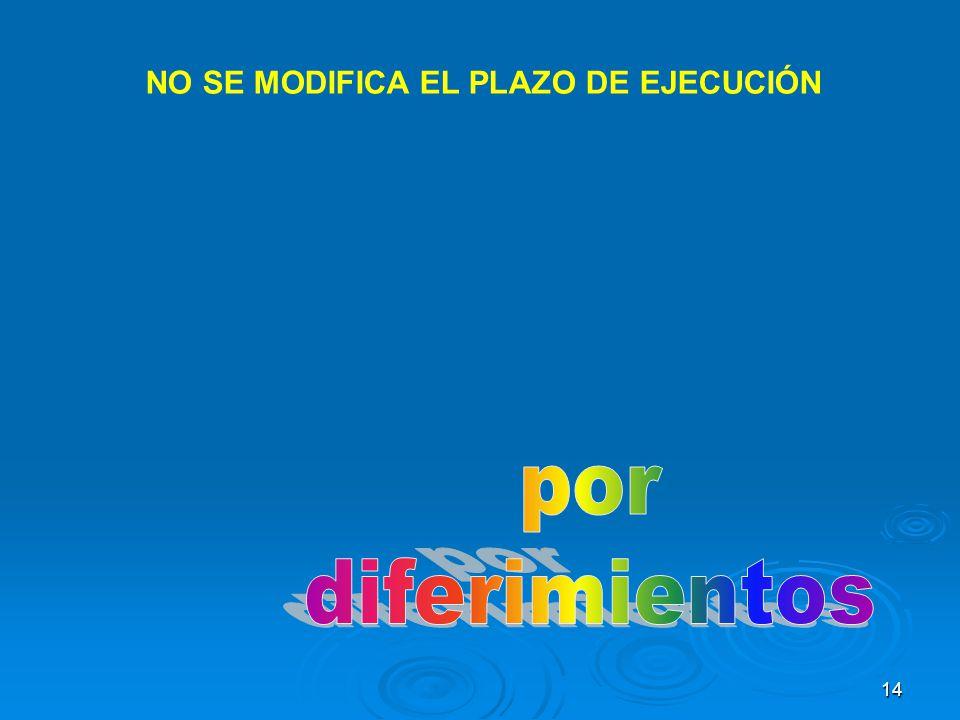 14 NO SE MODIFICA EL PLAZO DE EJECUCIÓN