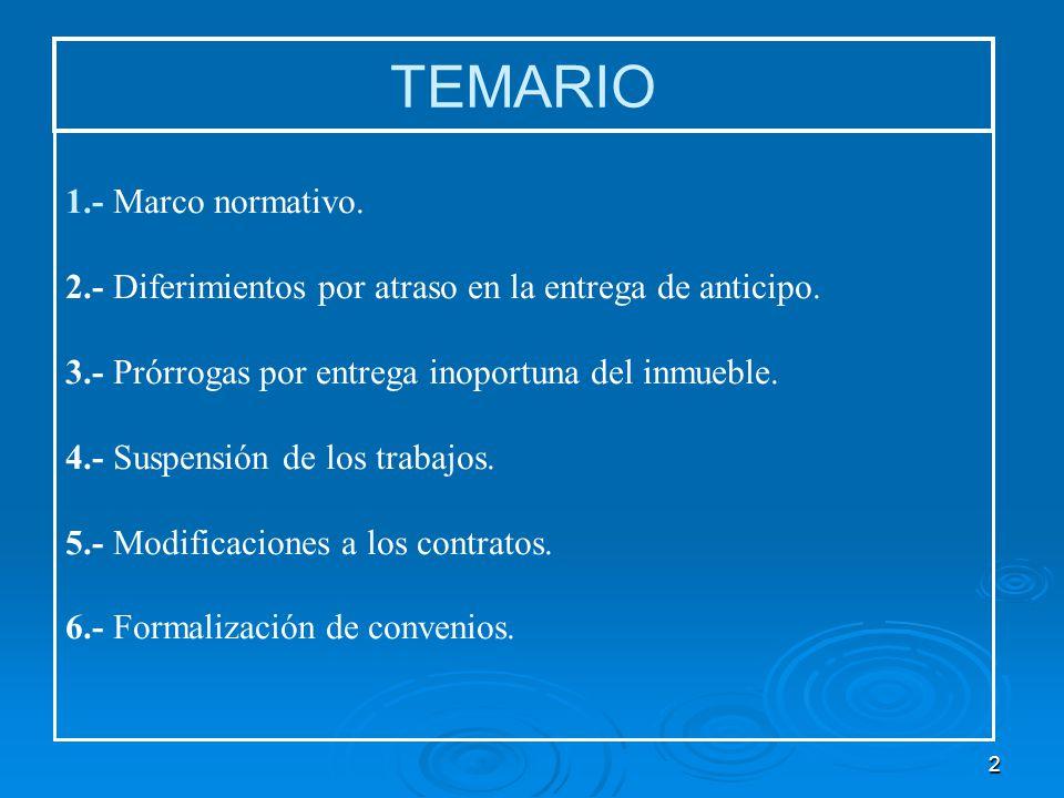 3 TEMA: MODIFICACION A CONTRATOS DE OBRAS PÚBLICAS Y SERVICIOS RELACIONADOS CON LAS MISMAS (DIFERIMIENTOS, PRORROGAS, SUSPENSIONES Y CONVENIOS) Contrato