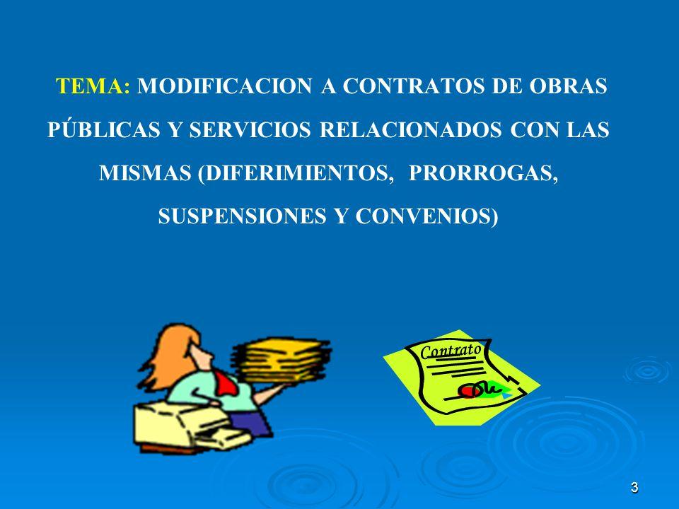 3 TEMA: MODIFICACION A CONTRATOS DE OBRAS PÚBLICAS Y SERVICIOS RELACIONADOS CON LAS MISMAS (DIFERIMIENTOS, PRORROGAS, SUSPENSIONES Y CONVENIOS) Contra