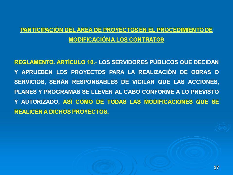 37 PARTICIPACIÓN DEL ÁREA DE PROYECTOS EN EL PROCEDIMIENTO DE MODIFICACIÓN A LOS CONTRATOS REGLAMENTO. ARTÍCULO 10.- LOS SERVIDORES PÚBLICOS QUE DECID