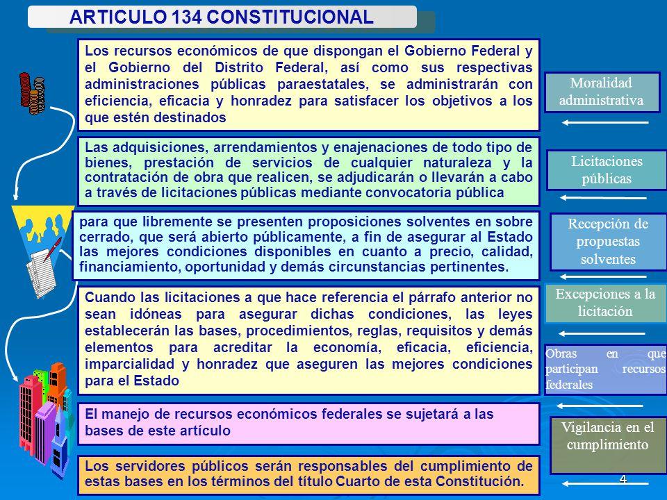 4 Los servidores públicos serán responsables del cumplimiento de estas bases en los términos del título Cuarto de esta Constitución. ARTICULO 134 CONS