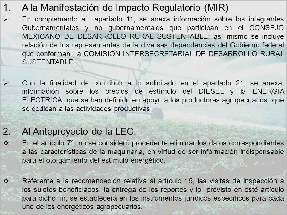 1.A la Manifestación de Impacto Regulatorio (MIR) En complemento al apartado 11, se anexa información sobre los integrantes Gubernamentales y no gubernamentales que participan en el CONSEJO MEXICANO DE DESARROLLO RURAL SUSTENTABLE; así mismo se incluye relación de los representantes de la diversas dependencias del Gobierno federal que conforman La COMISIÓN INTERSECRETARIAL DE DESARROLLO RURAL SUSTENTABLE.