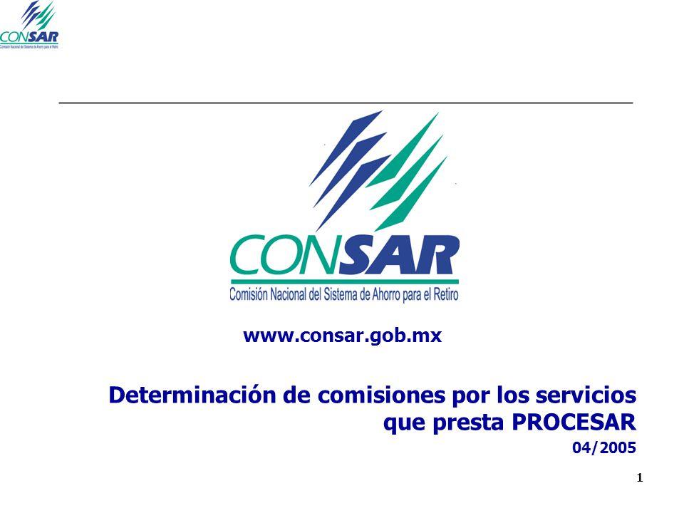 22 Determinación de comisiones por los servicios que presta PROCESAR 04/2005 www.consar.gob.mx