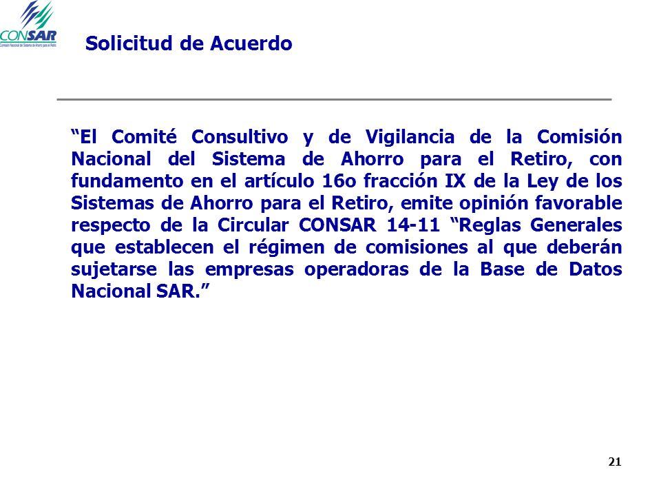 21 Solicitud de Acuerdo El Comité Consultivo y de Vigilancia de la Comisión Nacional del Sistema de Ahorro para el Retiro, con fundamento en el artícu