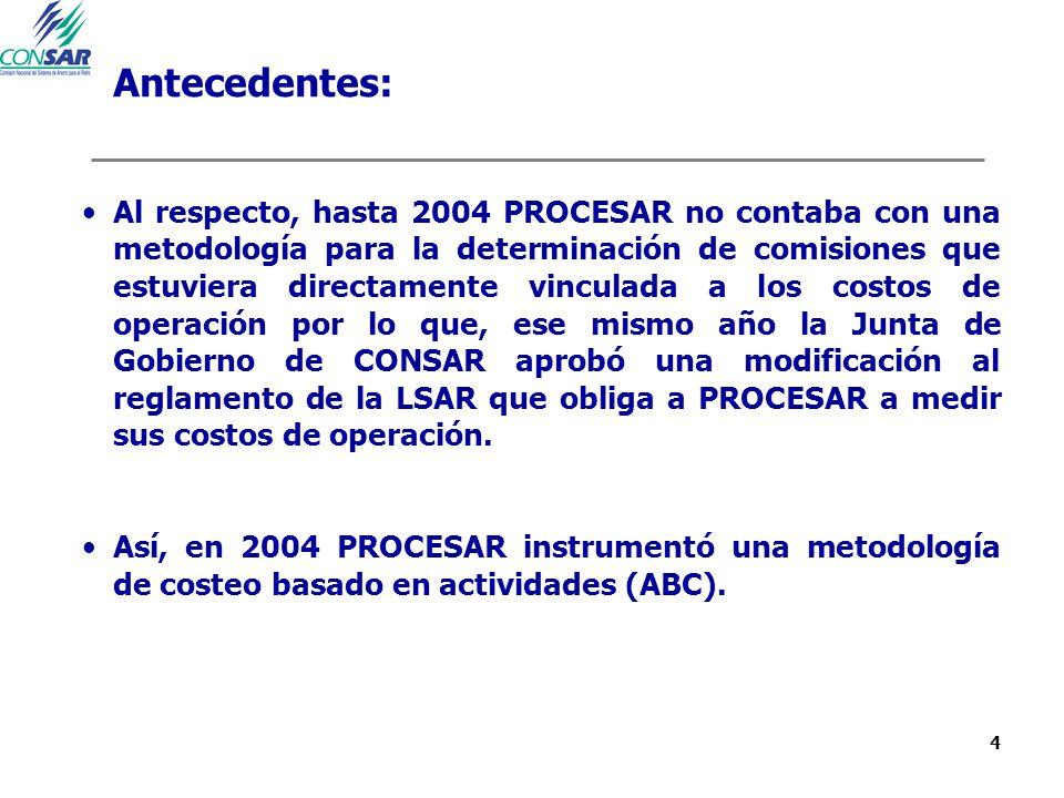 4 Antecedentes: Al respecto, hasta 2004 PROCESAR no contaba con una metodología para la determinación de comisiones que estuviera directamente vincula