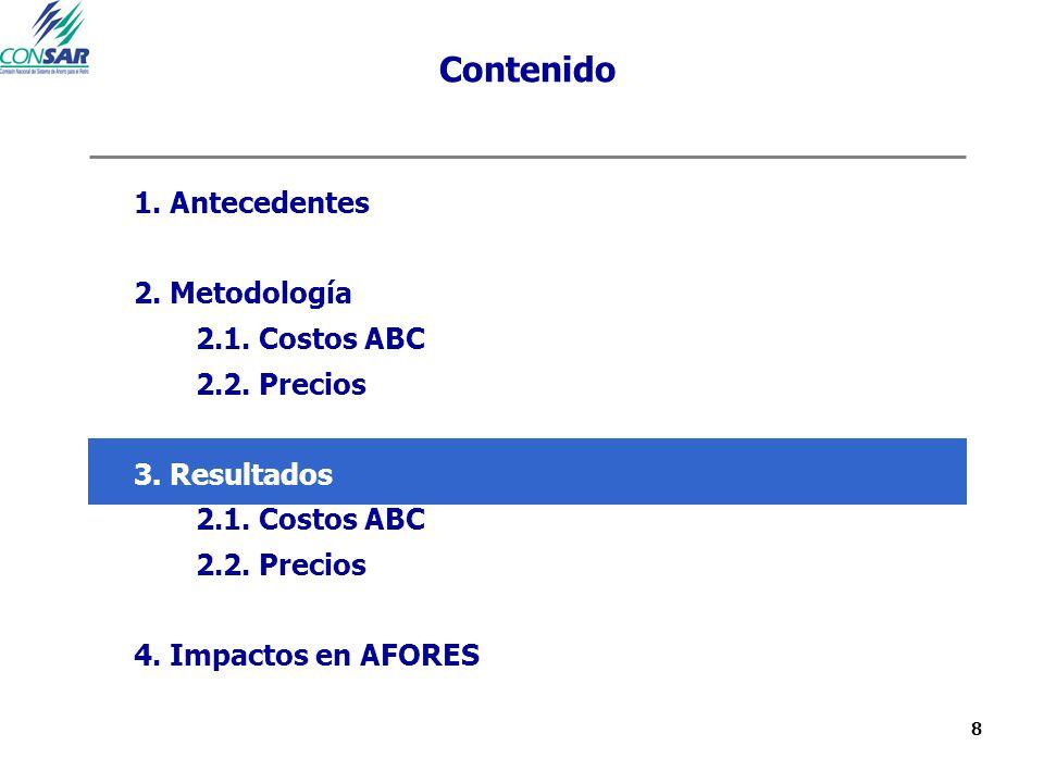 8 Contenido 1. Antecedentes 2. Metodología 2.1. Costos ABC 2.2. Precios 3. Resultados 2.1. Costos ABC 2.2. Precios 4. Impactos en AFORES