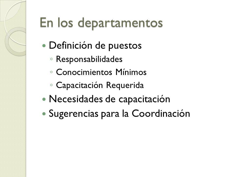 En los departamentos Definición de puestos Responsabilidades Conocimientos Mínimos Capacitación Requerida Necesidades de capacitación Sugerencias para la Coordinación