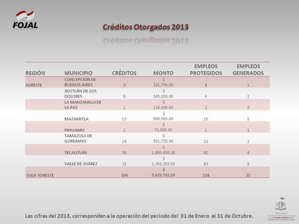 REGIÓNMUNICIPIOCRÉDITOSMONTO EMPLEOS PROTEGIDOS EMPLEOS GENERADOS SURESTE CONCEPCIÓN DE BUENOS AIRES9 $ 221,704.0081 JILOTLÁN DE LOS DOLORES6 $ 145,00