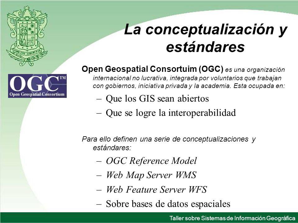 Taller sobre Sistemas de Información Geográfica La conceptualización y estándares Open Geospatial Consortuim (OGC) es una organización internacional no lucrativa, integrada por voluntarios que trabajan con gobiernos, iniciativa privada y la academia.