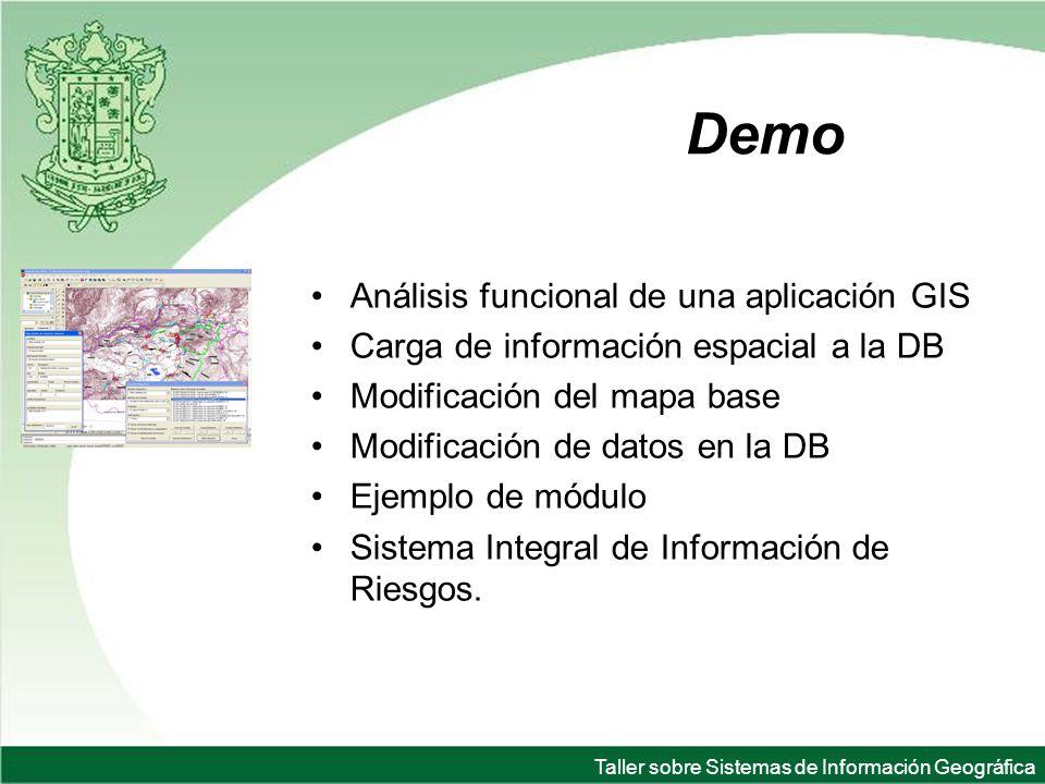 Taller sobre Sistemas de Información Geográfica Demo Análisis funcional de una aplicación GIS Carga de información espacial a la DB Modificación del mapa base Modificación de datos en la DB Ejemplo de módulo Sistema Integral de Información de Riesgos.