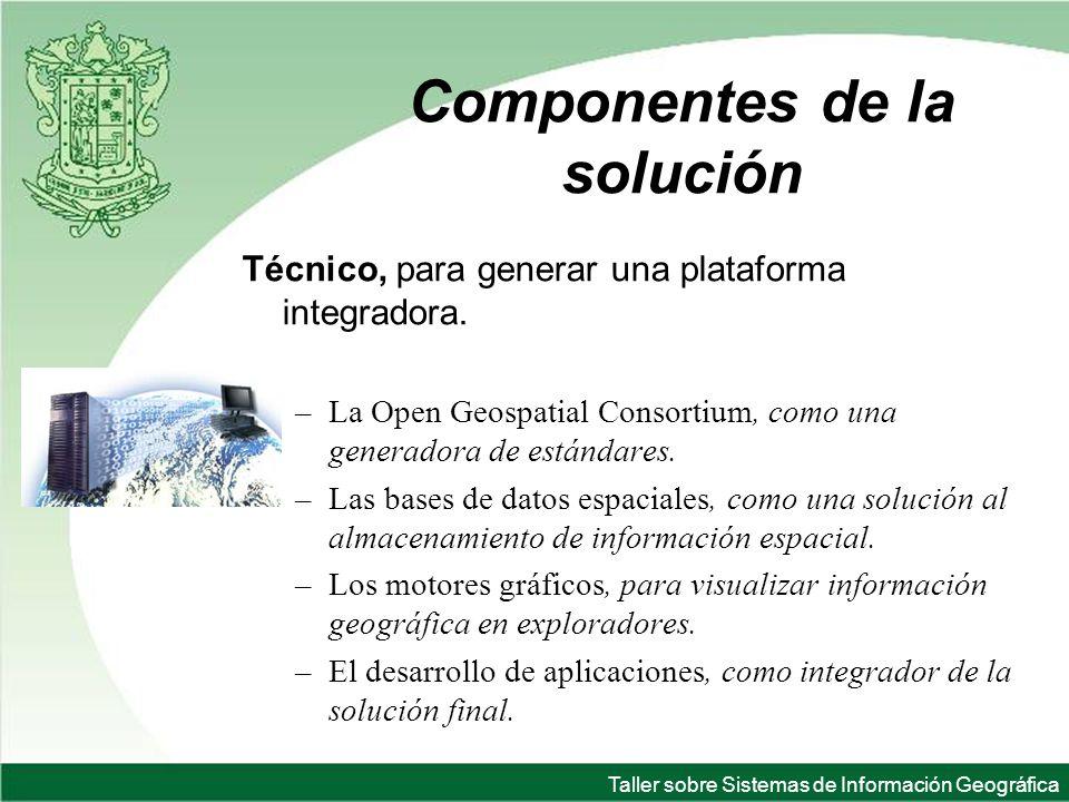 Taller sobre Sistemas de Información Geográfica Componentes de la solución Técnico, para generar una plataforma integradora.