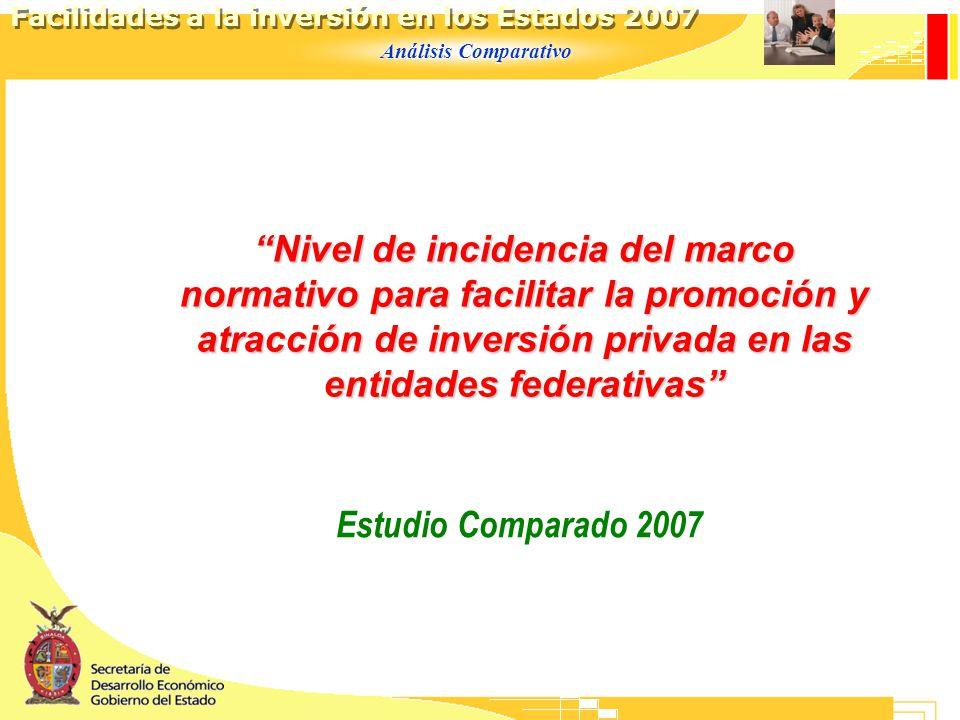 Análisis Comparativo Facilidades a la inversión en los Estados 2007 Nivel de incidencia del marco normativo para facilitar la promoción y atracción de inversión privada en las entidades federativas Estudio Comparado 2007
