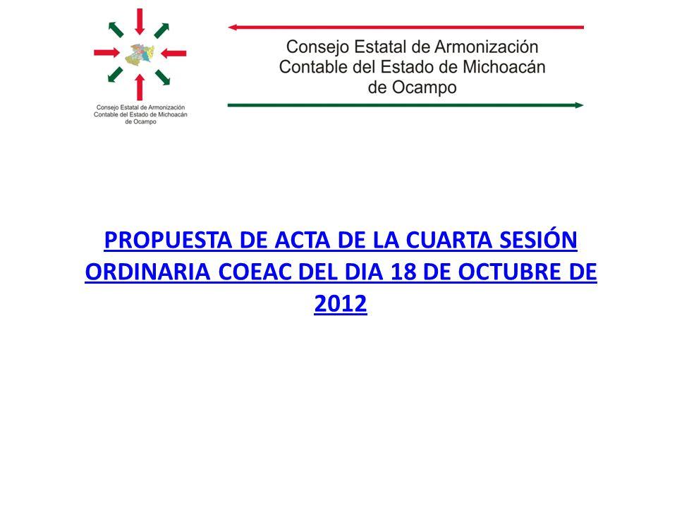 PROPUESTA DE ACTA DE LA CUARTA SESIÓN ORDINARIA COEAC DEL DIA 18 DE OCTUBRE DE 2012