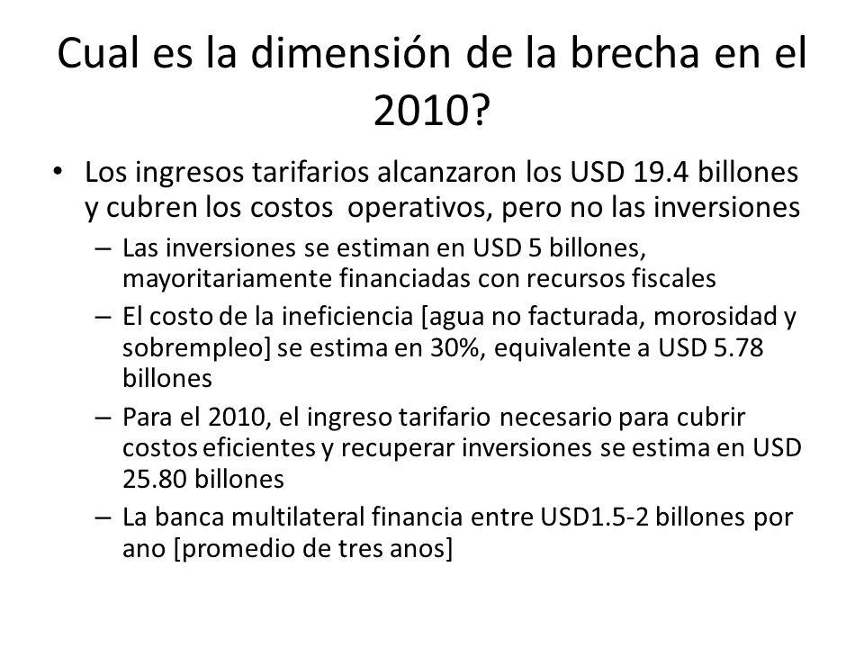 Cual es la dimensión de la brecha en el 2010? Los ingresos tarifarios alcanzaron los USD 19.4 billones y cubren los costos operativos, pero no las inv