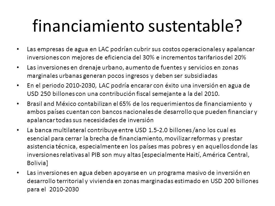 financiamiento sustentable? Las empresas de agua en LAC podrían cubrir sus costos operacionales y apalancar inversiones con mejores de eficiencia del