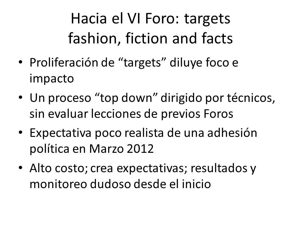 Hacia el VI Foro: targets fashion, fiction and facts Proliferación de targets diluye foco e impacto Un proceso top down dirigido por técnicos, sin eva