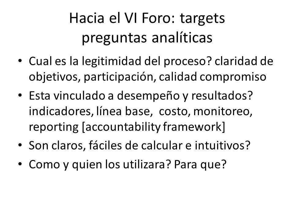 Hacia el VI Foro: targets preguntas analíticas Cual es la legitimidad del proceso? claridad de objetivos, participación, calidad compromiso Esta vincu