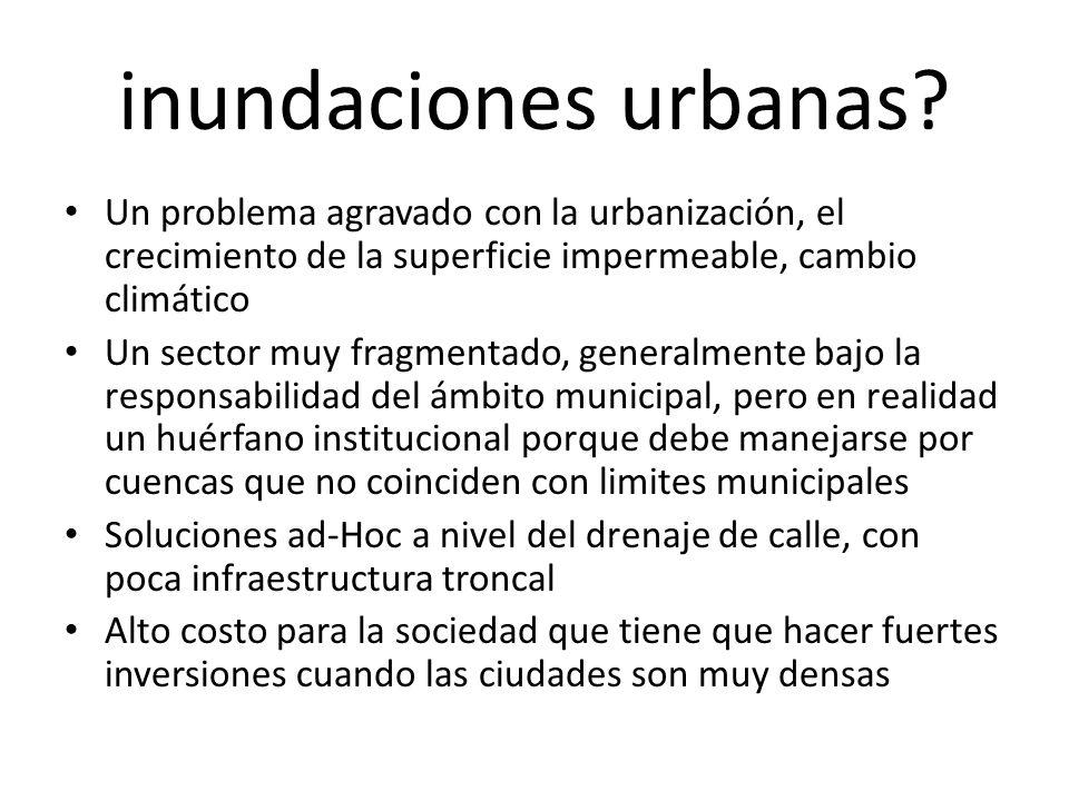 inundaciones urbanas? Un problema agravado con la urbanización, el crecimiento de la superficie impermeable, cambio climático Un sector muy fragmentad