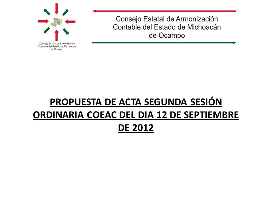 PROPUESTA DE ACTA SEGUNDA SESIÓN ORDINARIA COEAC DEL DIA 12 DE SEPTIEMBRE DE 2012
