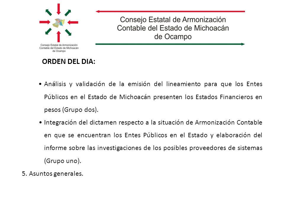 Análisis y validación de la emisión del lineamiento para que los Entes Públicos en el Estado de Michoacán presenten los Estados Financieros en pesos (Grupo dos).