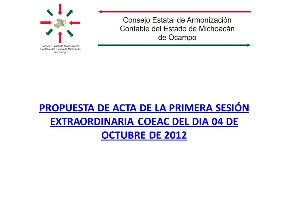 PROPUESTA DE ACTA DE LA PRIMERA SESIÓN EXTRAORDINARIA COEAC DEL DIA 04 DE OCTUBRE DE 2012