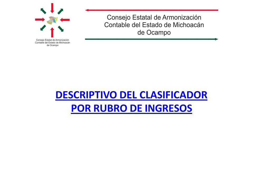 DESCRIPTIVO DEL CLASIFICADOR POR RUBRO DE INGRESOS