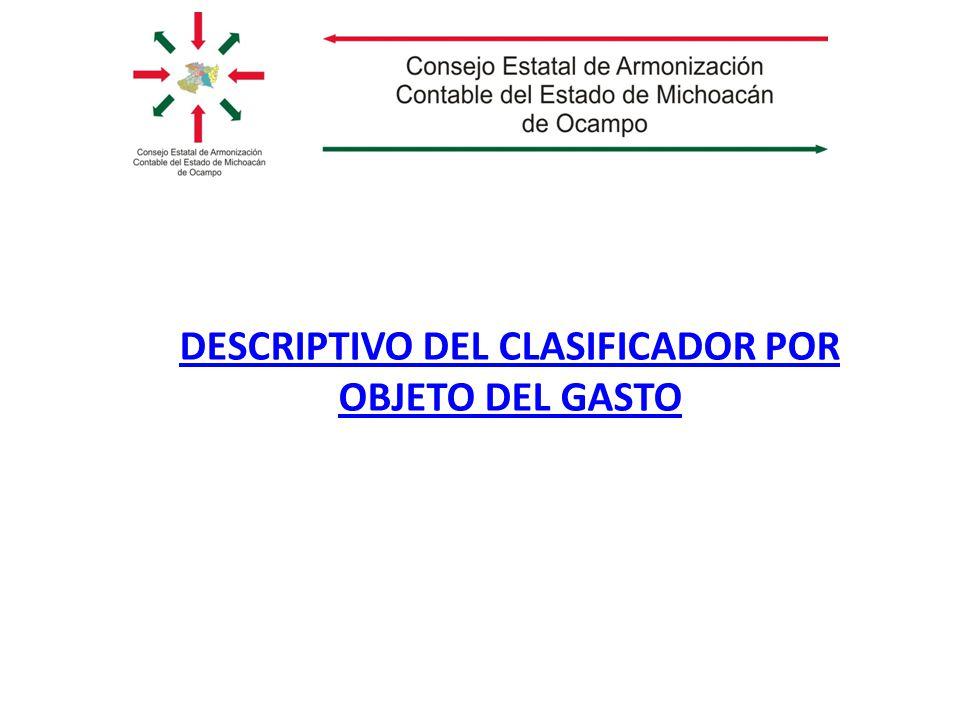 DESCRIPTIVO DEL CLASIFICADOR POR OBJETO DEL GASTO