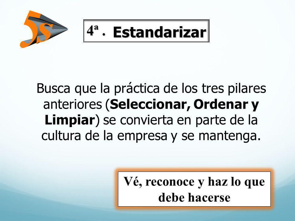 Busca que la práctica de los tres pilares anteriores (Seleccionar, Ordenar y Limpiar) se convierta en parte de la cultura de la empresa y se mantenga.
