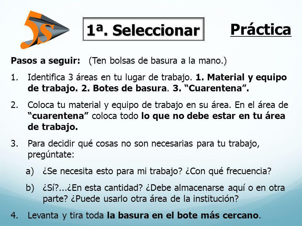 Pasos a seguir: (Ten bolsas de basura a la mano.) 1.Identifica 3 áreas en tu lugar de trabajo. 1. Material y equipo de trabajo. 2. Botes de basura. 3.