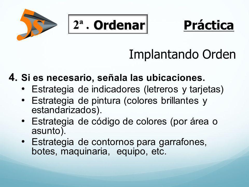 Implantando Orden 4. Si es necesario, señala las ubicaciones. Estrategia de indicadores (letreros y tarjetas) Estrategia de pintura (colores brillante