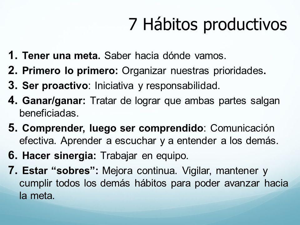 7 Hábitos productivos 1. Tener una meta. Saber hacia dónde vamos. 2. Primero lo primero: Organizar nuestras prioridades. 3. Ser proactivo: Iniciativa