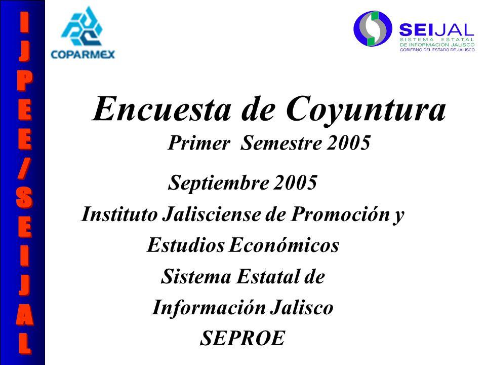 Encuesta de Coyuntura Primer Semestre 2005 Septiembre 2005 Instituto Jalisciense de Promoción y Estudios Económicos Sistema Estatal de Información Jalisco SEPROE