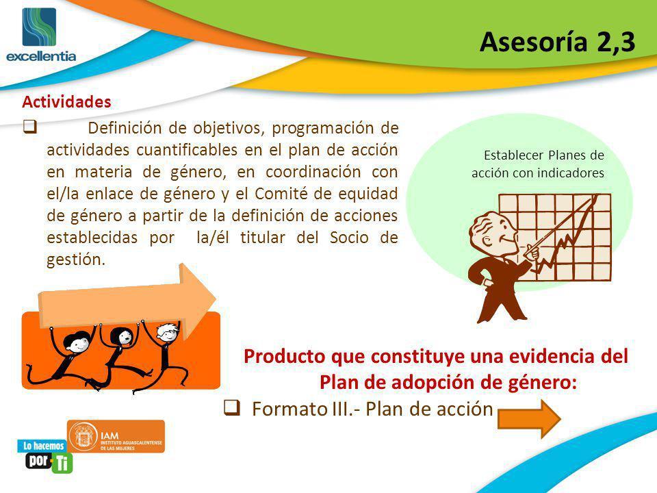 Asesoría 2,3 Actividades Definición de objetivos, programación de actividades cuantificables en el plan de acción en materia de género, en coordinació