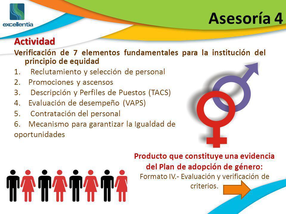Asesoría 4Actividad Verificación de 7 elementos fundamentales para la institución del principio de equidad 1. Reclutamiento y selección de personal 2.