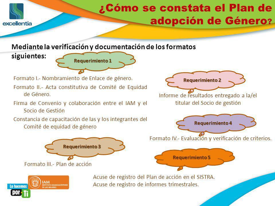 ¿Cómo se constata el Plan de adopción de Género ? Mediante la verificación y documentación de los formatos siguientes: Formato I.- Nombramiento de Enl